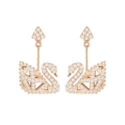 Facet Swan Pierced Earrings 9