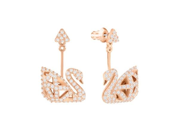 Facet Swan Pierced Earrings 3